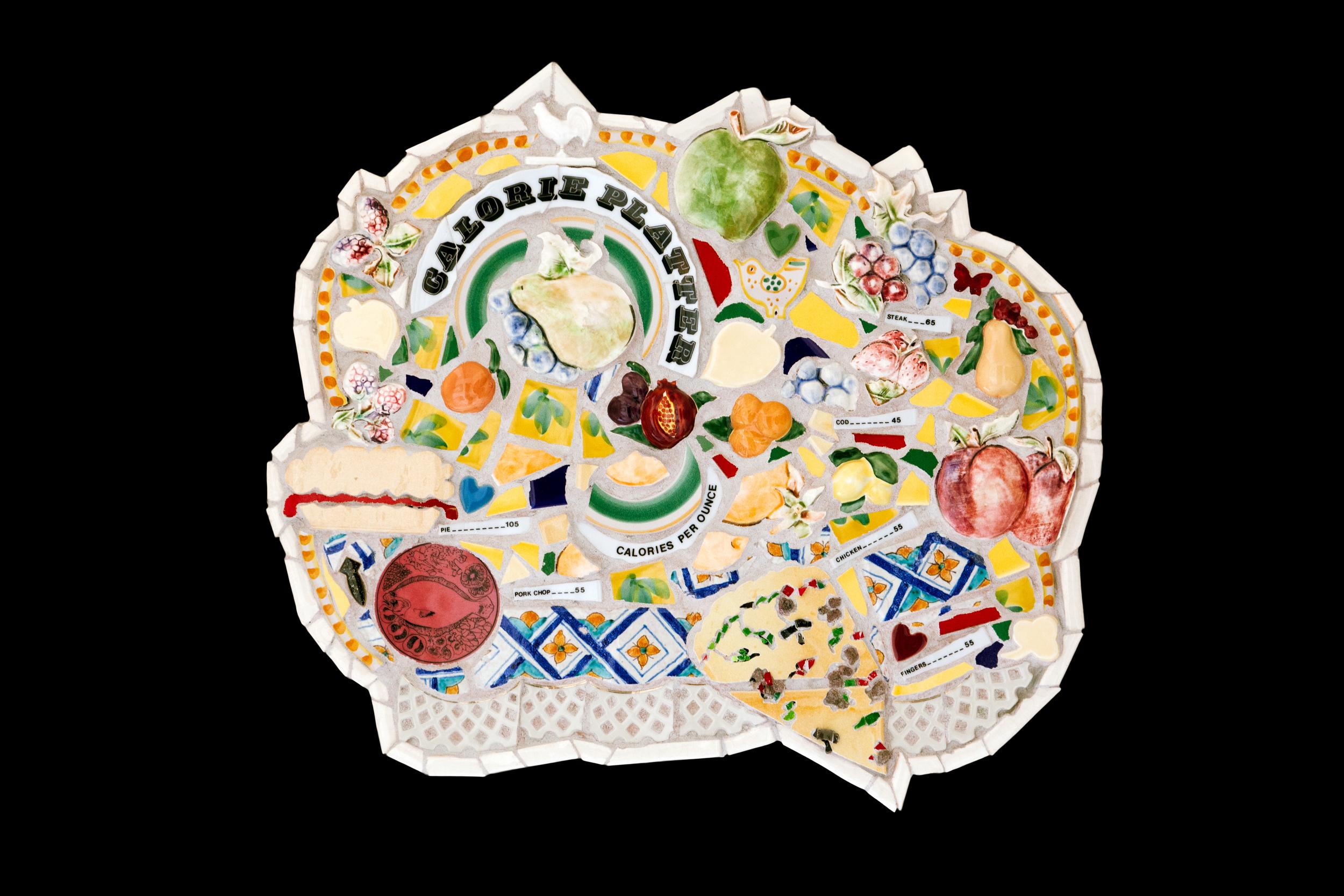 """Calorie Platter. 20"""" diameter. Ceramic."""