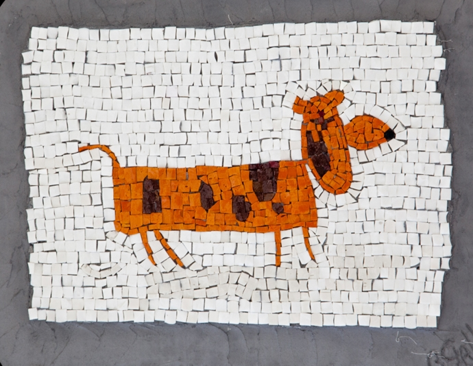 "Peter's Orange Dog. 14x17.5"".Italian glass smalti."