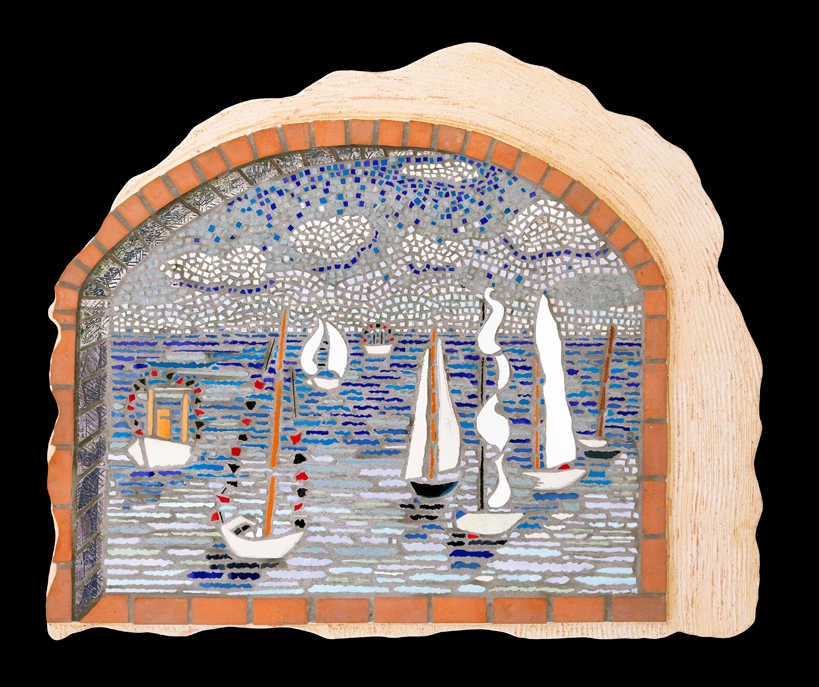 "Regatta 26x22"". Glazed ceramic tile."