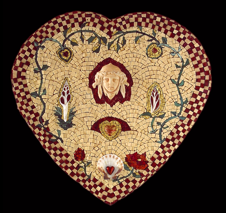 "Queen of Hearts. 18x18"". Italian glass smalti, 24 karat gold tesserae, ceramic, shells."