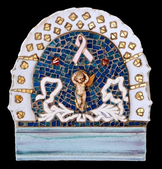 "Angel Heart. 10x9.5"". Italian 24 karat gold tesserae and glass smalti, ceramic."