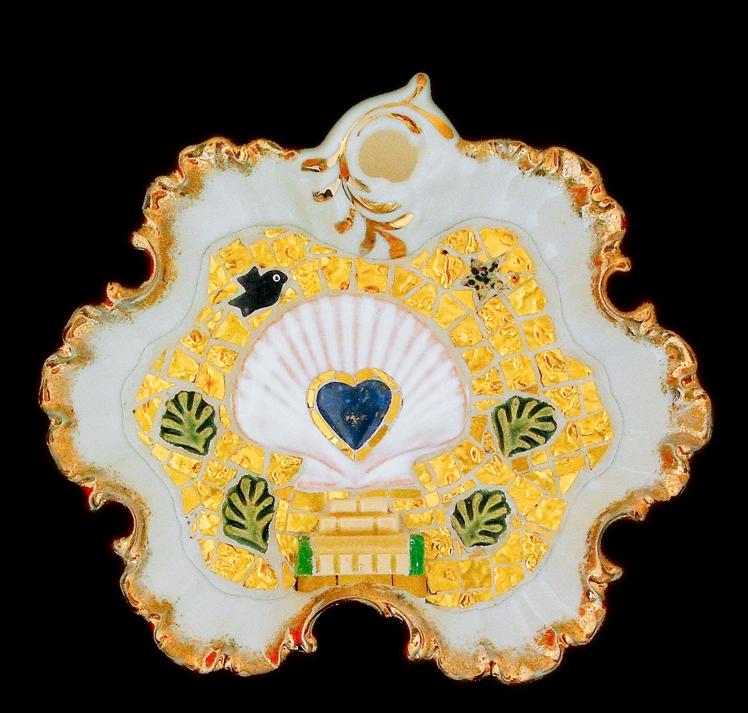 "Love On A Pedestal. 8x7.5"" Lapis lazuli heart, turquoise, Italian 24 karat gold tesserae, smalti, ceramic, porcelain."