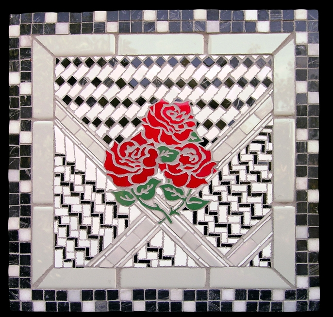 "Made In CA for Palestine. 15.5x15.5"". Ceramic tile and Marble."