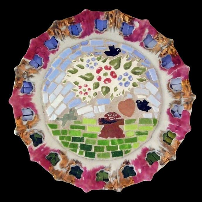 "Mejor Sola Que Mal Acompañada. 8"" diameter. Italian glass smalti, semi precious stones, vintage plate frame."