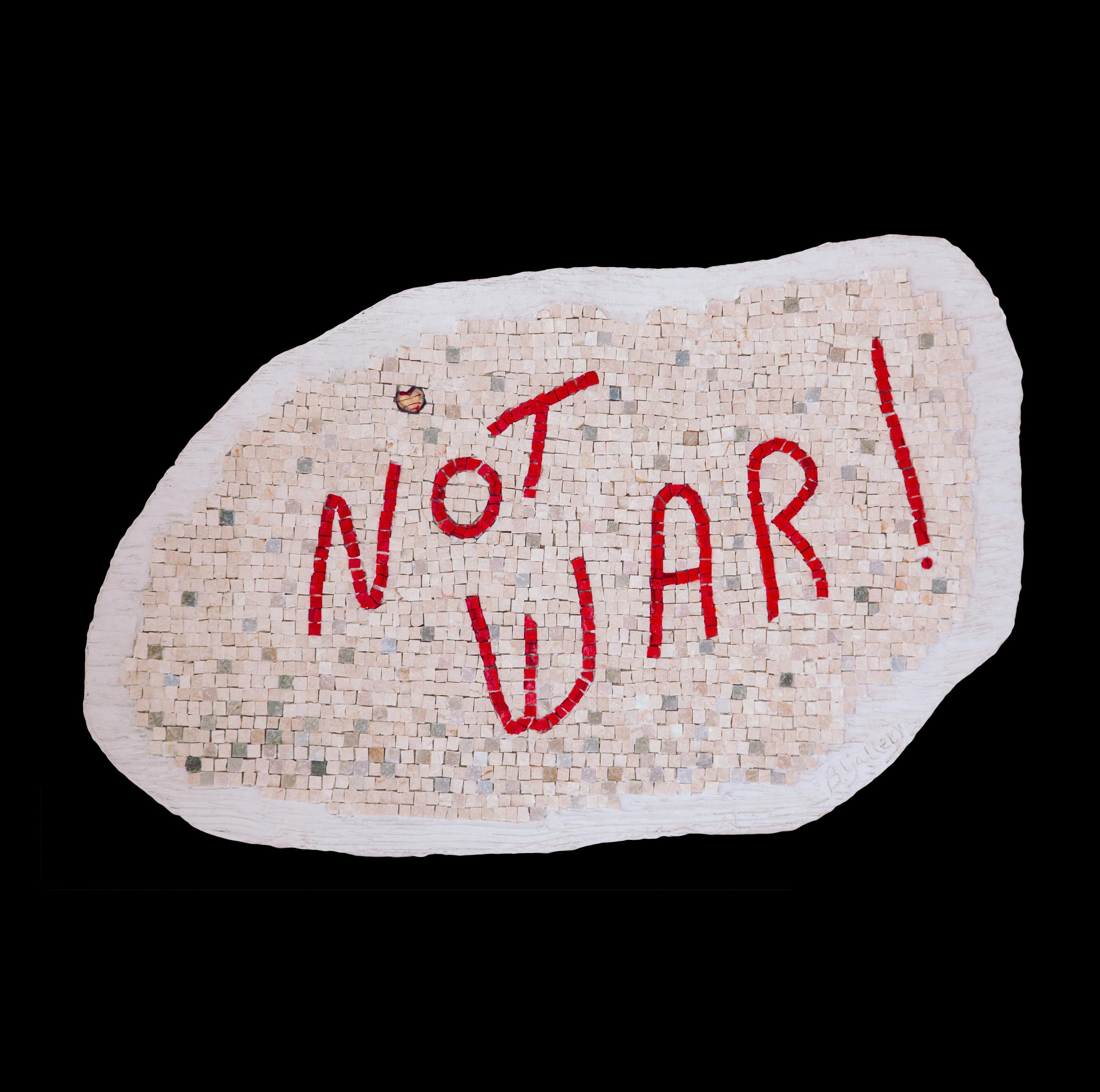 "Not War! 19x29"". Italian glass smalti, marble and Venetian glass heart."