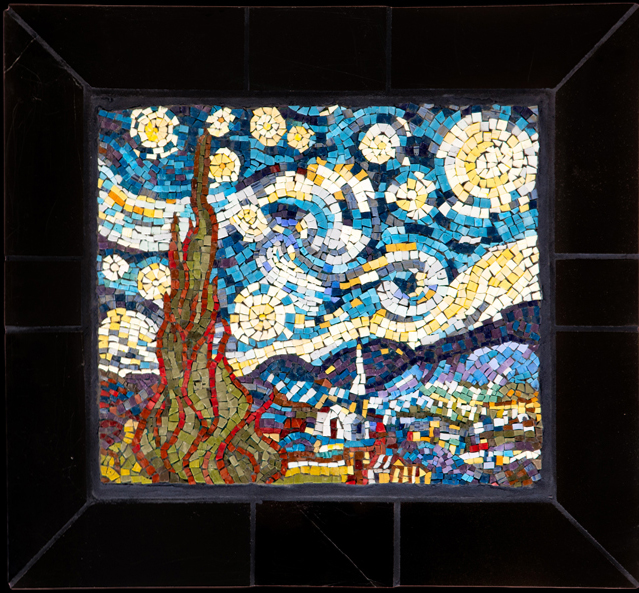 "Starry Night. 15x17.5"" Italian glass smalti."