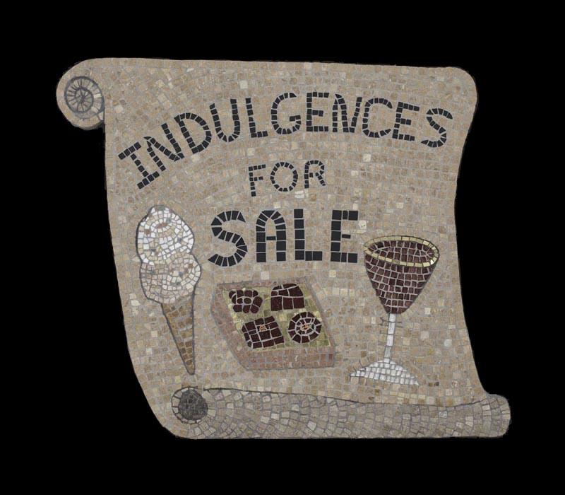 "Indulgences for Sale, 22x25"", Marble, gold, Italian smalti."