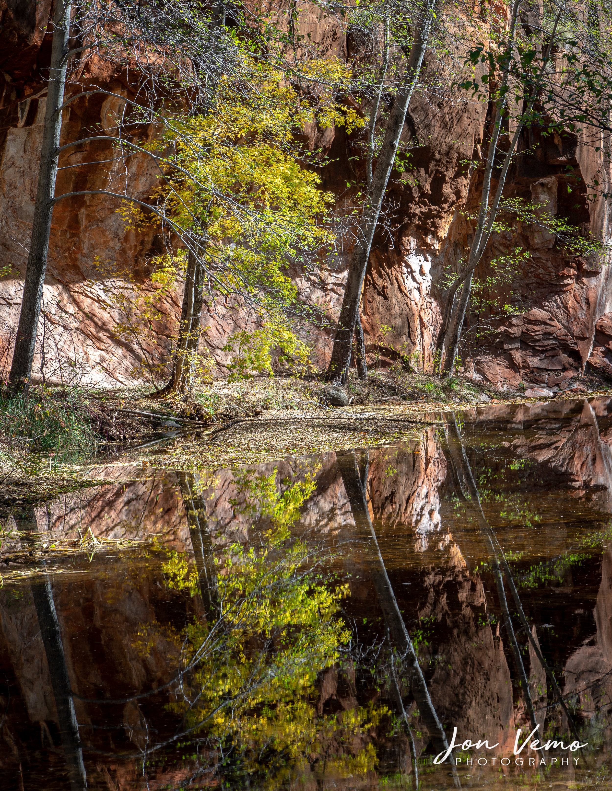 Fall reflections along West Fork Creek.