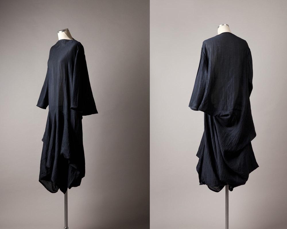 Navy Blue Dress      Materials:  Cotton Blend Textile, Thread  Techniques:  Subtraction Cutting Patternmaking, Garment Construction   2012