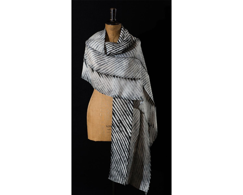 Scarf      Materials:  Silk    Techniques:  Pole-Wrapped Shibori    2013