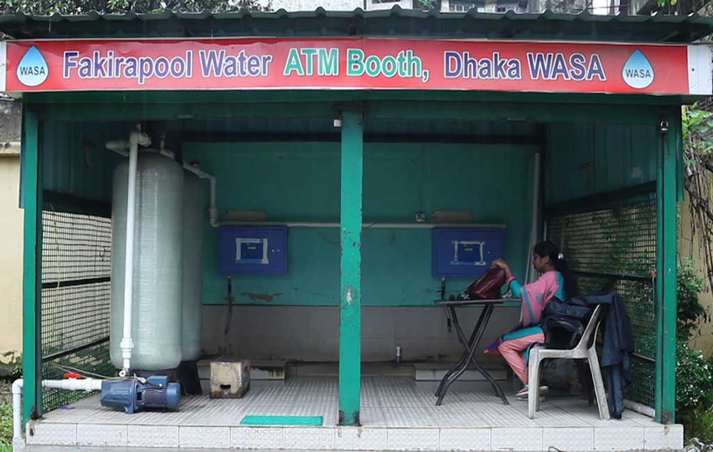 One of 100 water ATM booths installed by Wasa in different areas of Dhaka city (Dhaka Tribune)