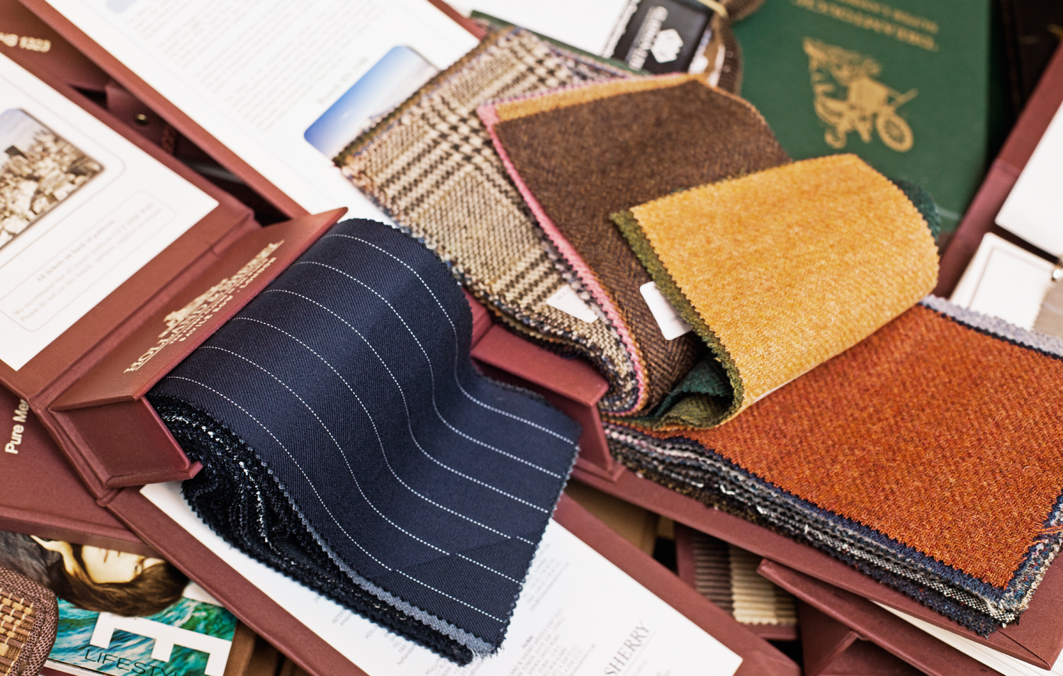 Fabric samples used in Barry Wishnow's bespoke suits.