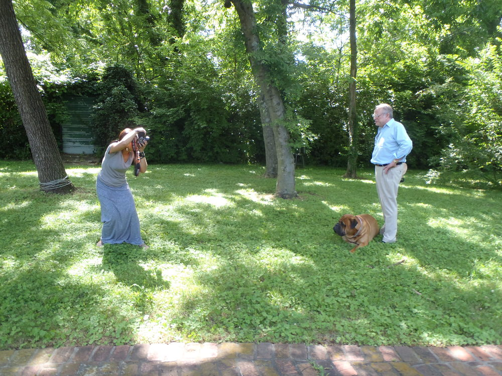 Behind the scenes. Hitch, Barry Wishnow's mastiff, joins in. ©Nadia Junaid