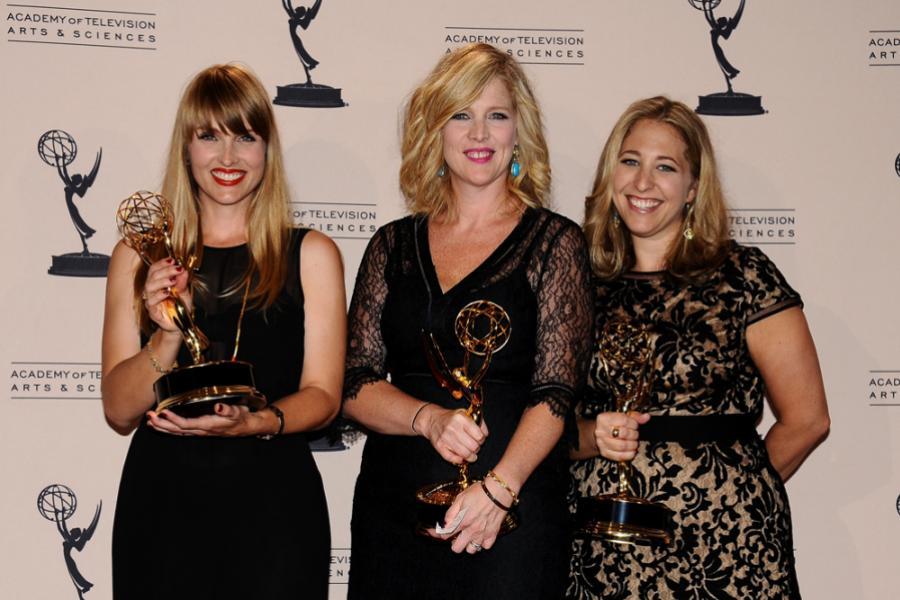 Katia Blichfeld, Jennifer McNamara-Shroff and Jessica Daniels at the 65th Creative Arts Emmys.  Photo by: Invision/AP