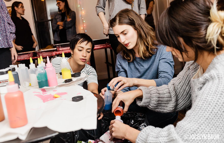 Mixing colors. Emily Grace of Hartland Brooklyn (center).