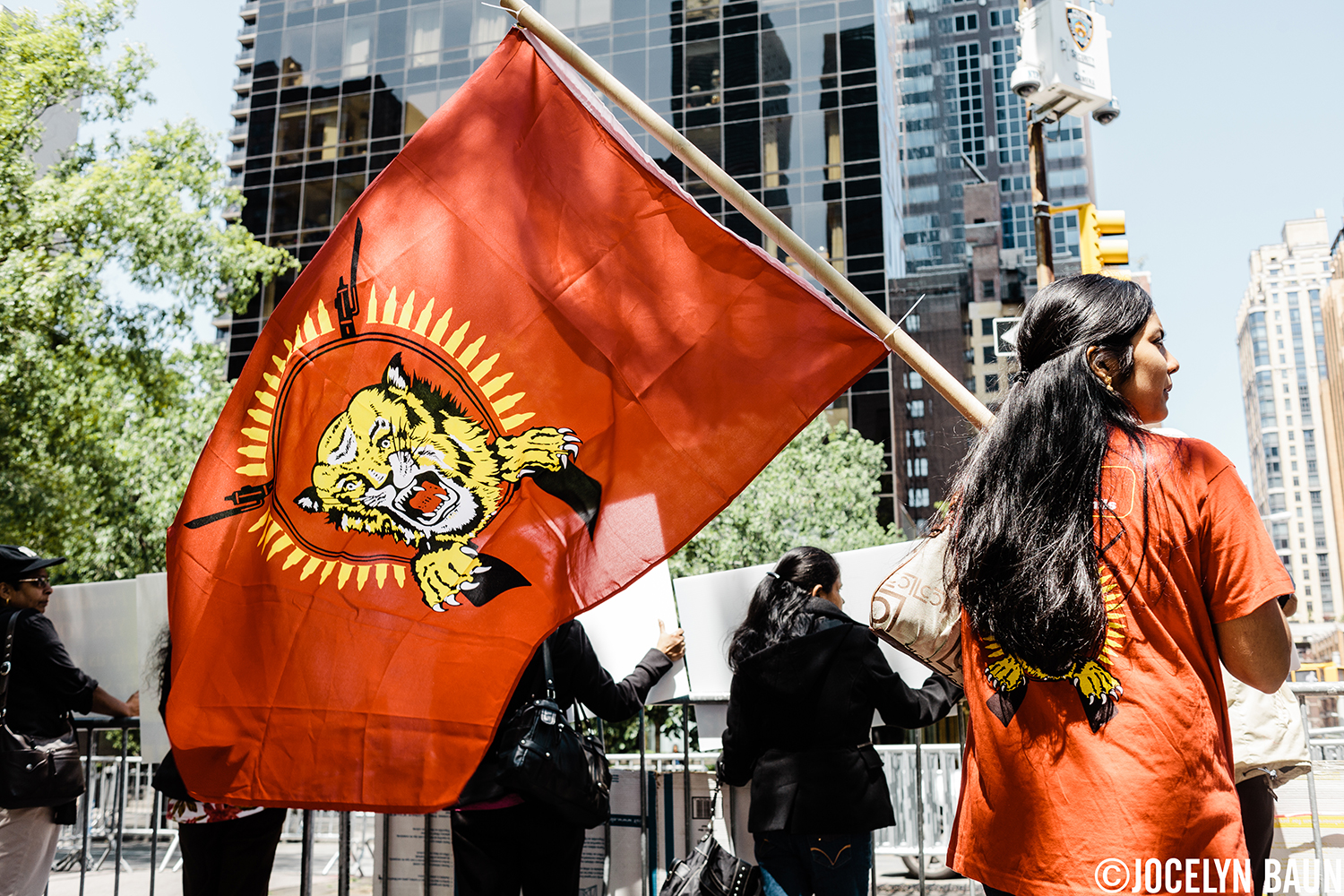 The Tamil Tiger flag during a protest at the UN. Sri Lankan Tamils want their government held accountable for war crimes.