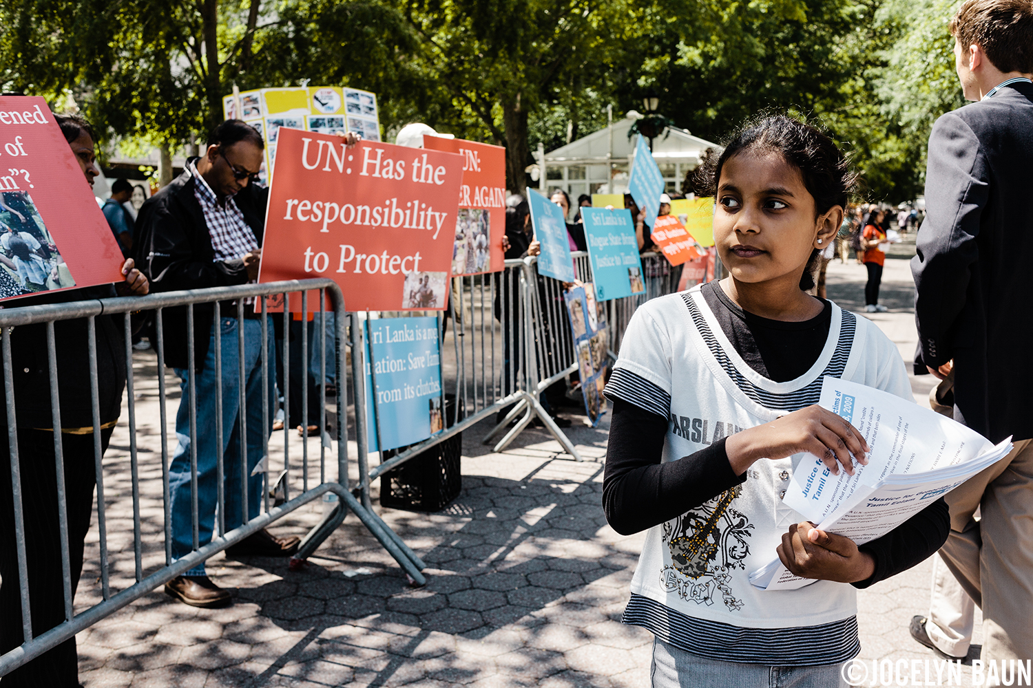 Sri Lankan Tamils protest at the UN to have the Sri Lankan government held accountable for war crimes.