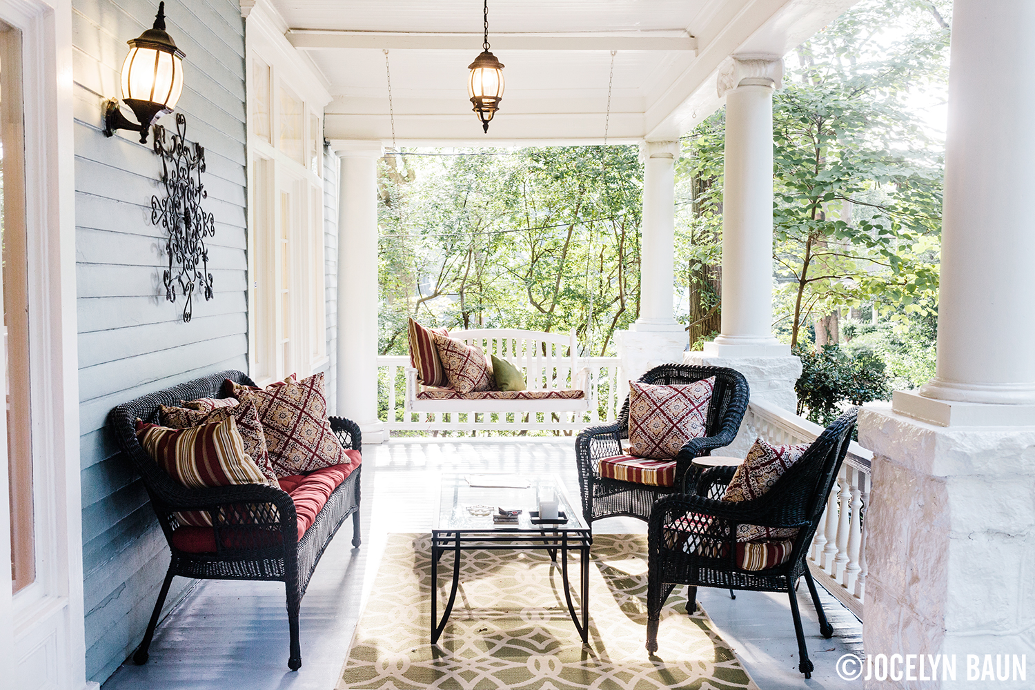 Front porch of Midtown Atlanta residence decorated by Rina Norwood Design