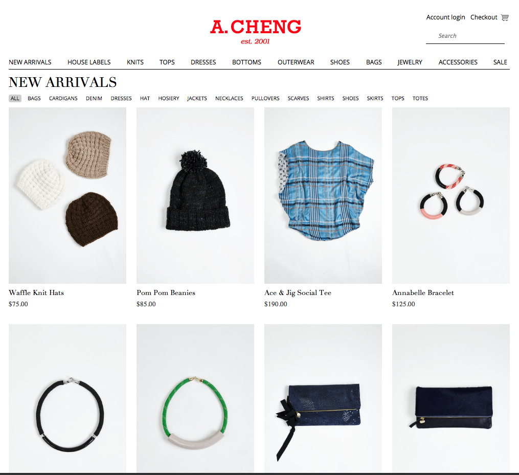 Product photography for A. Cheng website