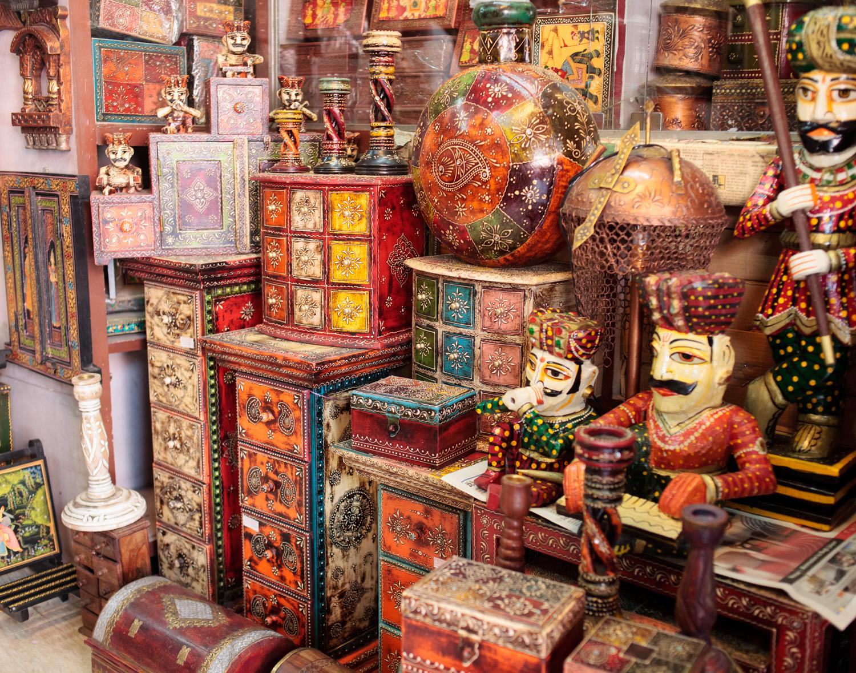 Jaipur, Rajasthan - Handicrafts at Ambika Handicrafts in Johari Bazaar.  Singapore Airlines SilverKris