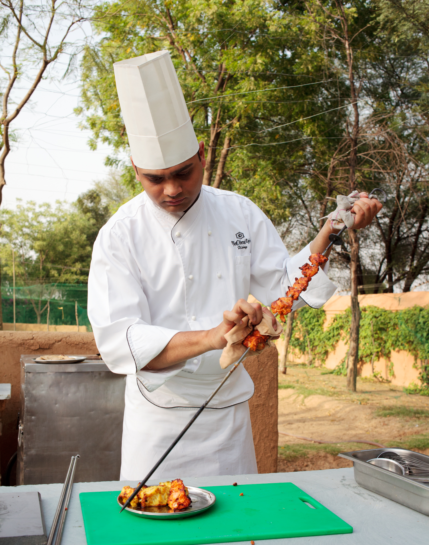 Jaipur, Rajasthan - Fish and chicken tikka kebabs in the herb garden kitchen at the Oberoi Rajvilas.  Singapore Airlines SilverKris