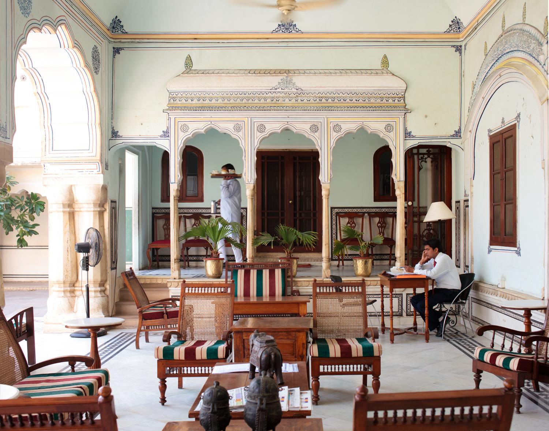 Jaipur, Rajasthan - Lobby at the Samode Haveli.  Singapore Airlines SilverKris