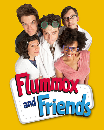The cast of  Flummox and Friends  (clockwise from upper left): Ben Johnson, Mark Anderson Phillips, Todd Alan Brotze, Khamara Pettus, Rebecca Poretsky.  Download this image.