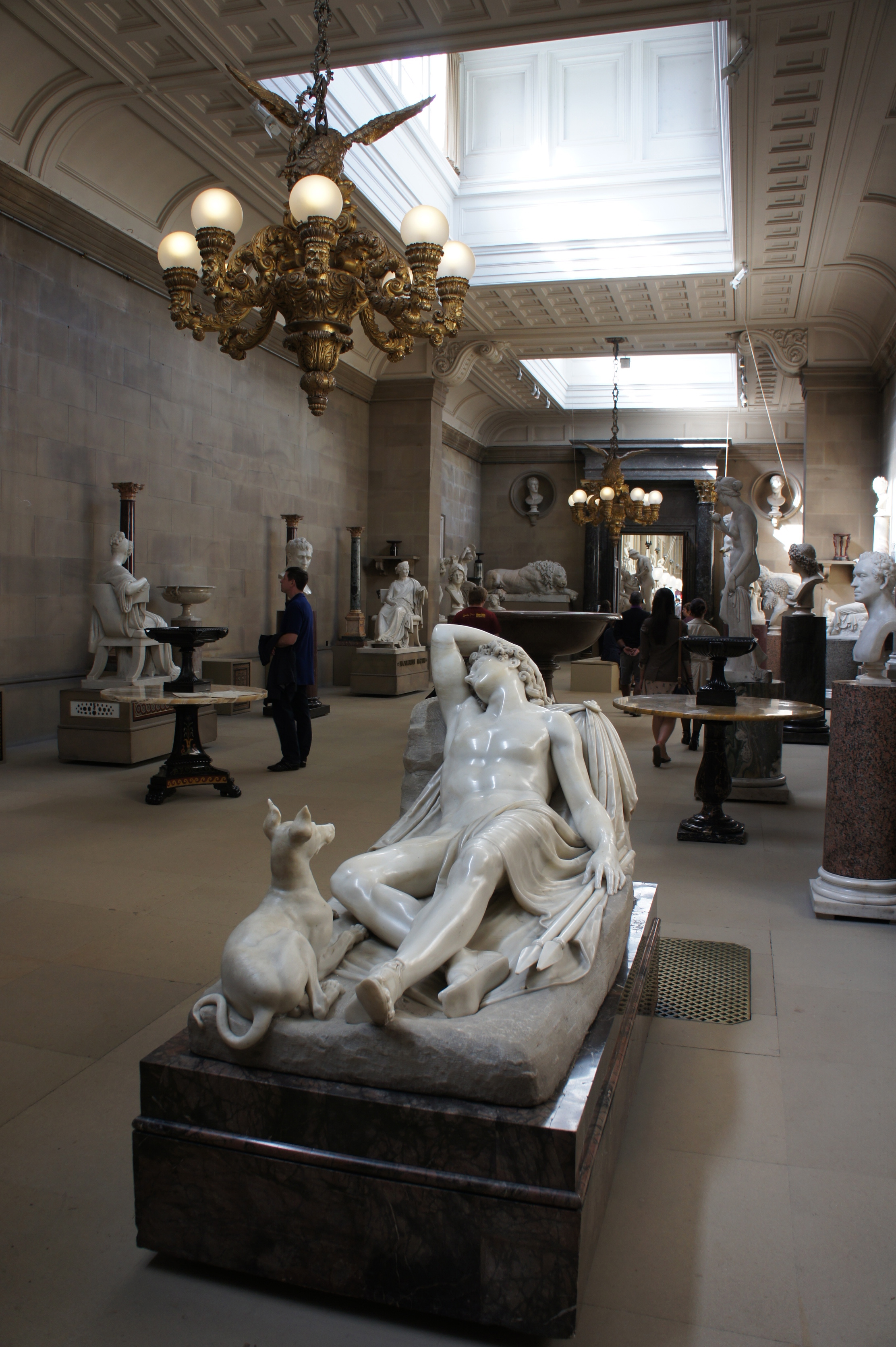 The sculpture room inside Chatsworth is recognisable from the movie, although without the bust of Mr Darcy.