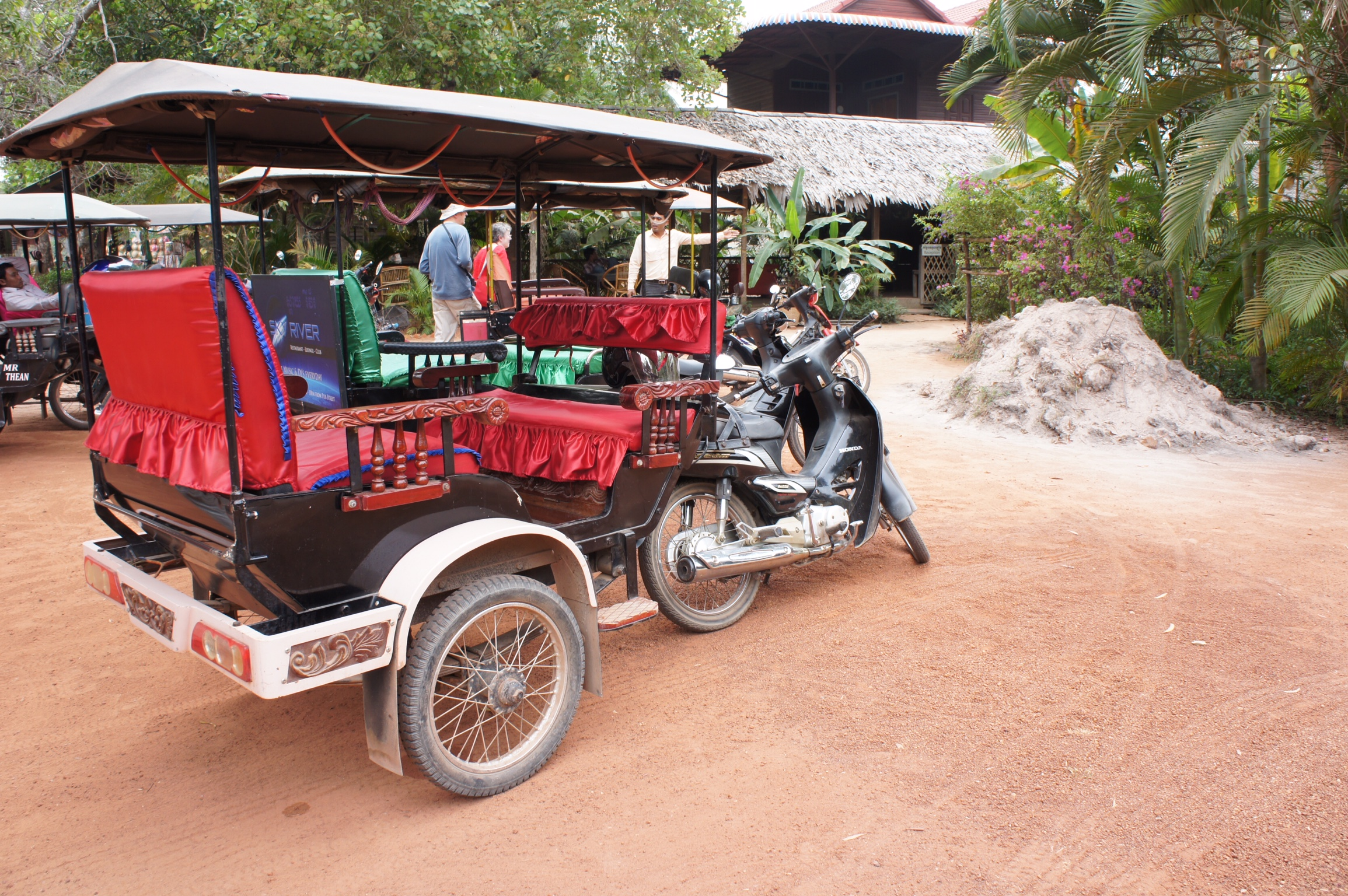 In the cities, people typically get around on tuc tucs. A ride is only a few USD with haggling.