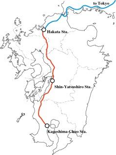 The Shinkansen line through Kyushu