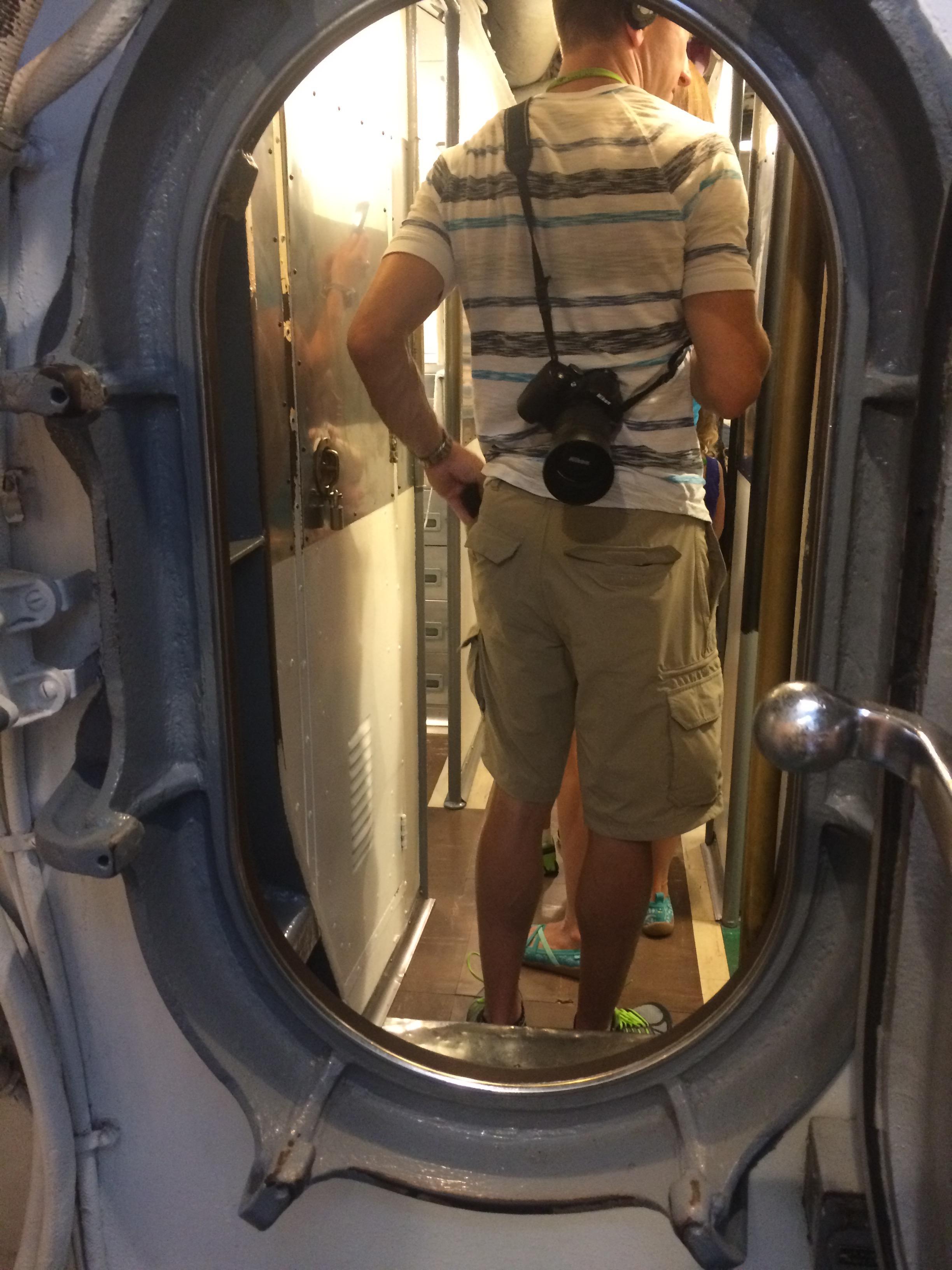 Inside the sub: tiny doors!
