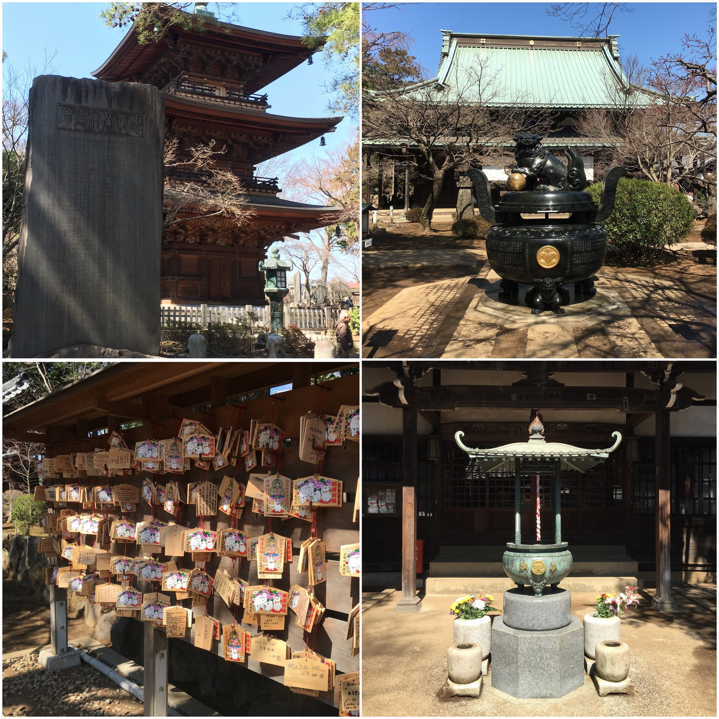Around Gotoku-ji temple. The temple building for the cats is bottom right and even the prayer cards have cats drawn on them (bottom left).