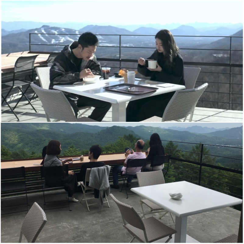"""Cafe Aura, from """"Terrace House"""" with Ami being unimpressed by the curry, and a picture taken during our visit with the precarious fencing that means children aren't allowed."""