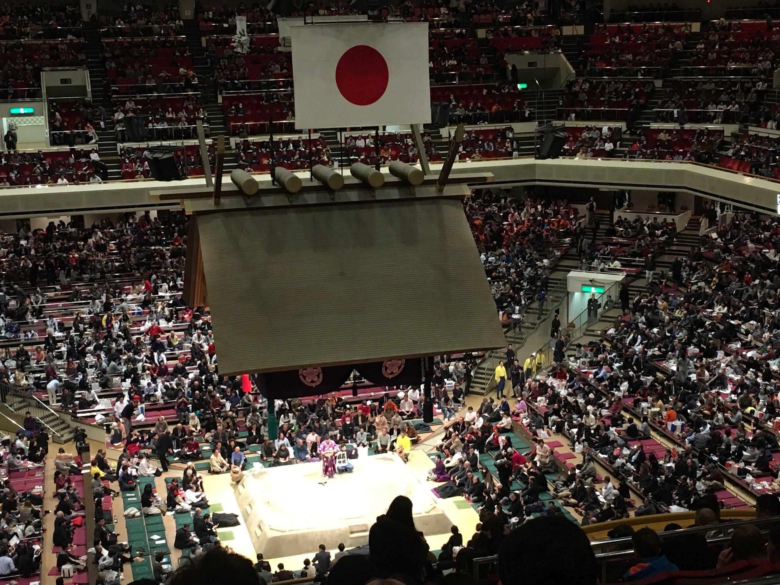 View of the sumo ring in the Ryogoku Kokugaikan, Tokyo.