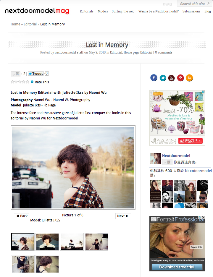The editorial { Lost in Memory } with Juliette is published on Nextdoormodel Magazine <3