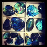 Gorgeous rutilation in these labradorite pieces, one of my favorite semi-precious stones!
