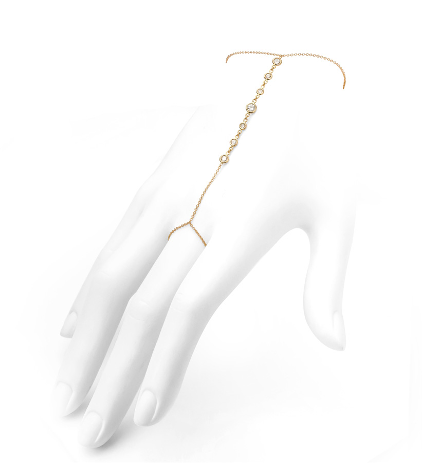 """For the Bridal Jewelry section,  Jade Trau  """"Stiletto"""" hand chain in 18K rose gold featuring round, brilliant-cut white diamonds.                                Normal    0                false    false    false       EN-US    JA    X-NONE                                                                                                                                                                                                                                                                                                                                                                                                                                                                                                                                                  /* Style Definitions */ table.MsoNormalTable {mso-style-name:""""Table Normal""""; mso-tstyle-rowband-size:0; mso-tstyle-colband-size:0; mso-style-noshow:yes; mso-style-priority:99; mso-style-parent:""""""""; mso-padding-alt:0in 5.4pt 0in 5.4pt; mso-para-margin:0in; mso-para-margin-bottom:.0001pt; mso-pagination:widow-orphan; font-size:12.0pt; font-family:Cambria; mso-ascii-font-family:Cambria; mso-ascii-theme-font:minor-latin; mso-hansi-font-family:Cambria; mso-hansi-theme-font:minor-latin;}"""