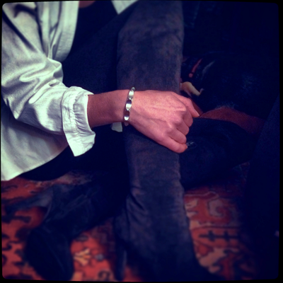 Geoffrey Good's Dakar cuff bracelet, a Hatch Jewelry exclusive, paired with my Theory thigh-high suede boots