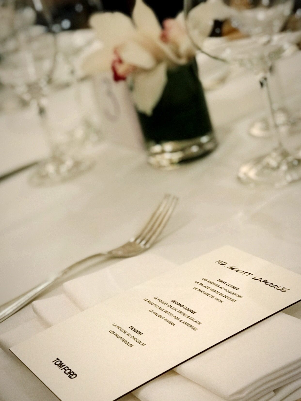 Tom Ford Dinner Menu