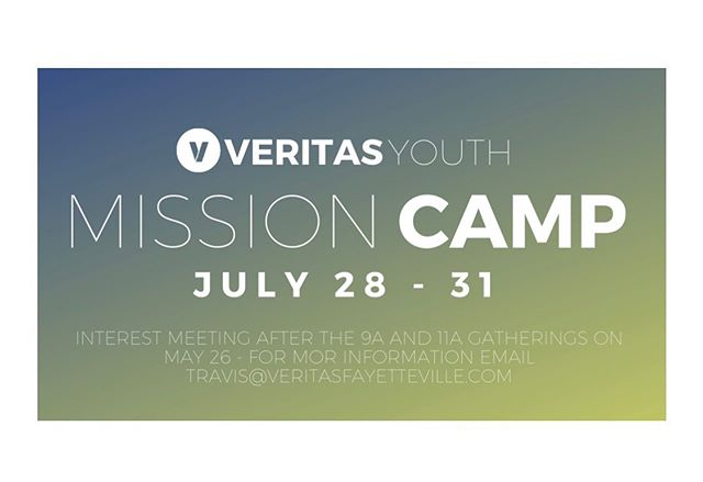 Veritas Youth! We are going on our first overnight Mission Camp in Red Springs, NC!!! This is for all you 6th-12th graders! If you're interested come to the interest meeting May 26th after the 9&11 gathering! For even MORE info check the link in the bio. 😎
