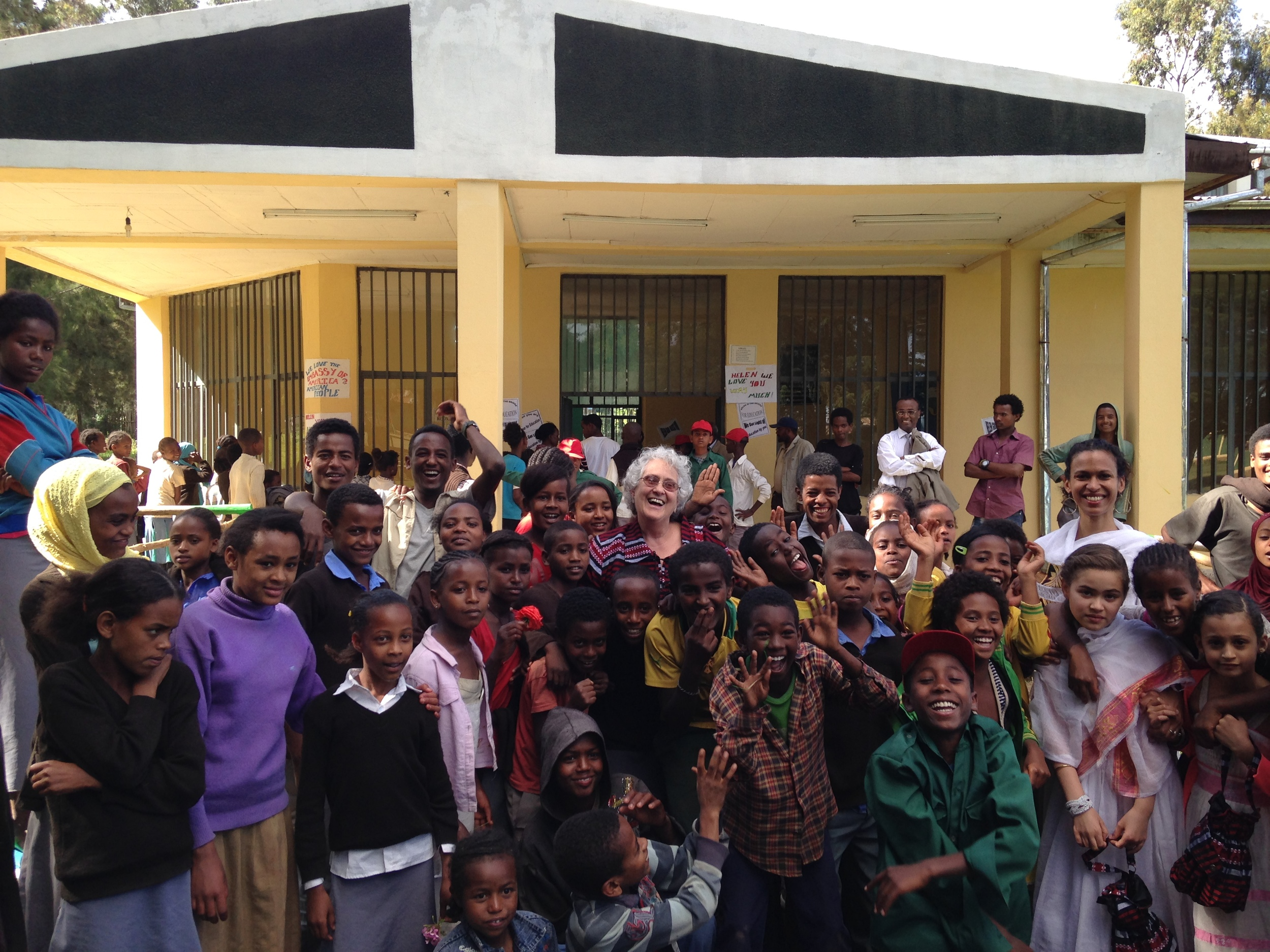 Celebrating the Alemu Woldehanna Community Library in Hosanna, Ethiopia, April 2014.