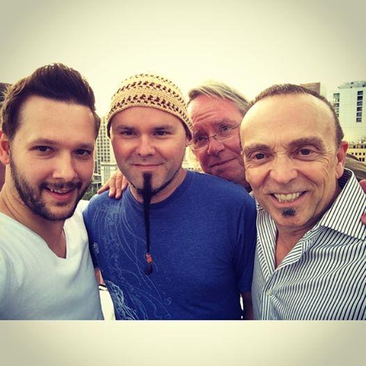 Henry Haney, Jay Huzil & Layne London with Roy photo-bombing