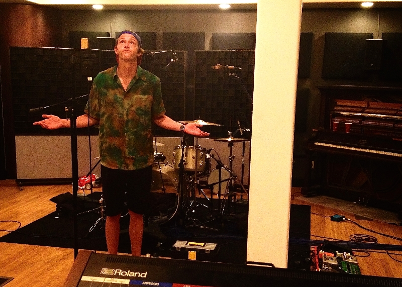 Trevor taking in the environment at Sound House Studios in Redding, CA