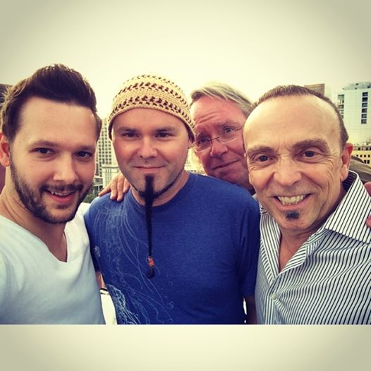Henry Haney, Jay Huzil & Layne London - 3 great artists and friends (Roy in the photo-bomb)