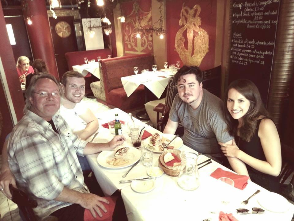 Having lunch with Danny O'Callaghan, Tim & Jonathan Blake in London.