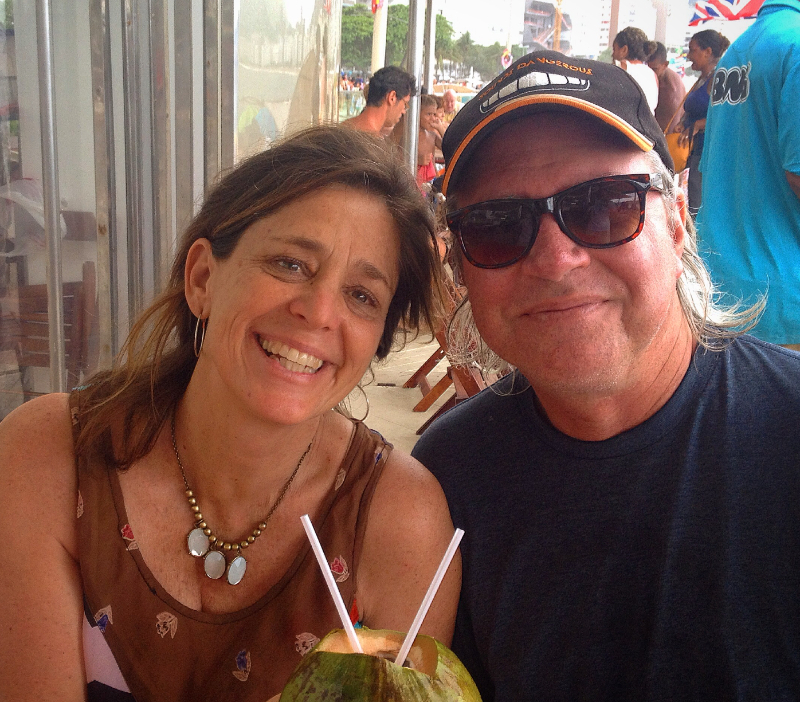 Christine & Roy in Rio, Brazil . . . sharing the love of God and sipping coconut juice.