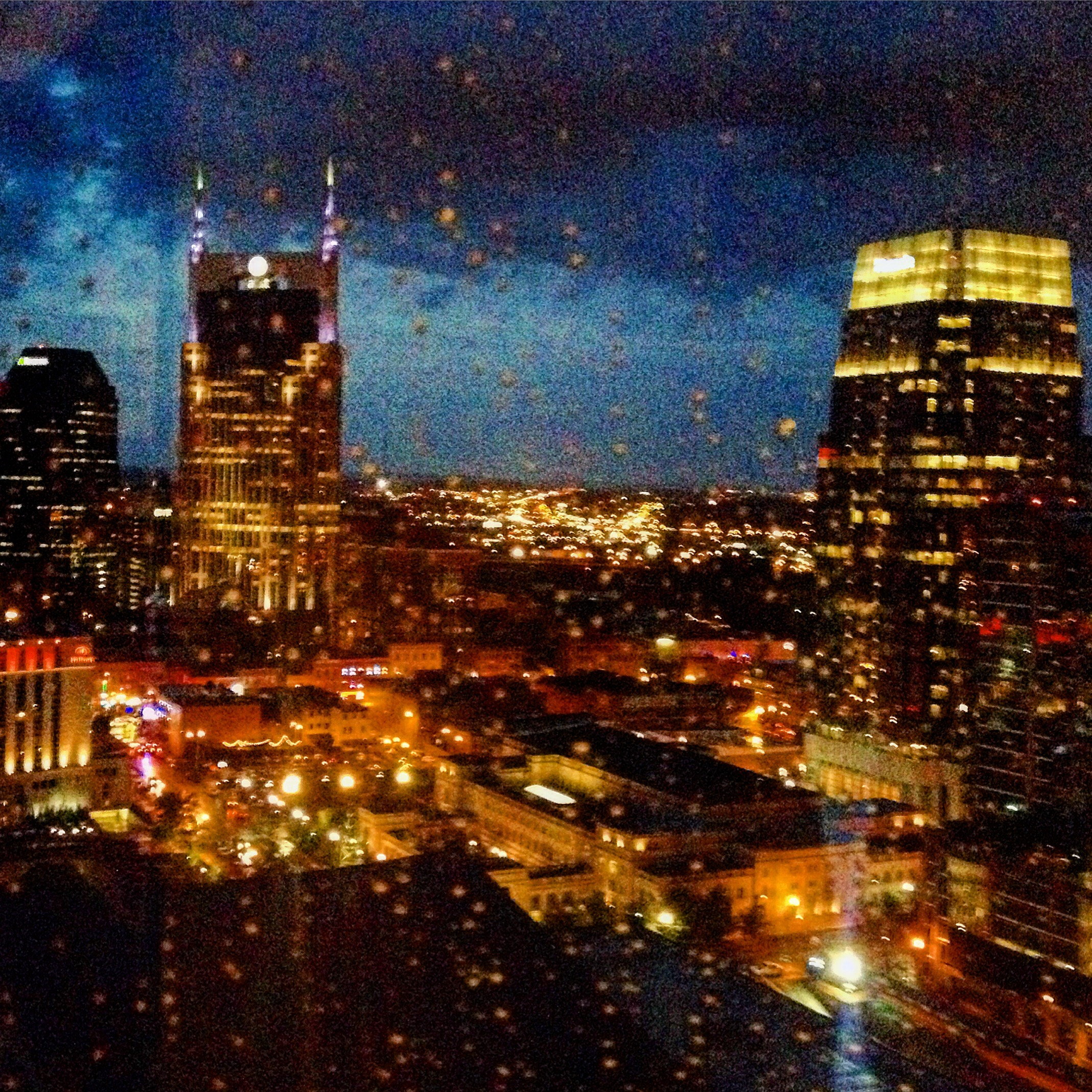 Beautiful Nashville skyline at night from my hotel room on a stormy evening.