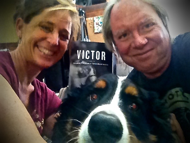 """Christine, Sadie Mae & Roy celebrating our great friend John Hovis' book  """"VICTOR""""  being published!"""