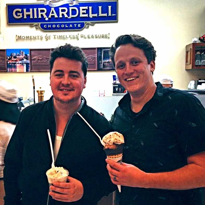 Singer Songwriter and amazing Worship Leader   Danny O'Callaghan   and touring Drummer   Joe Urquhart  , both from England enjoying some Ice Cream while we were Downtown San Diego for a friend playing the House of Blues.