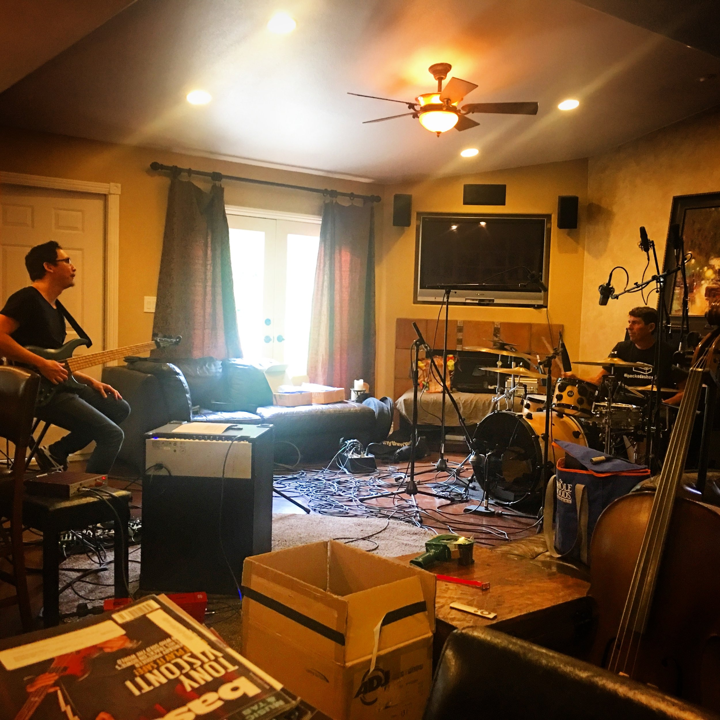 My good friend,  Norm Stockton  here working on the beginnings of a new recording to be recorded later on this year with some  HEAVY WIEGHT  players. So proud of Norm's advanced vocabulary whether speaking from his heart on his bass or speaking at a workshop.